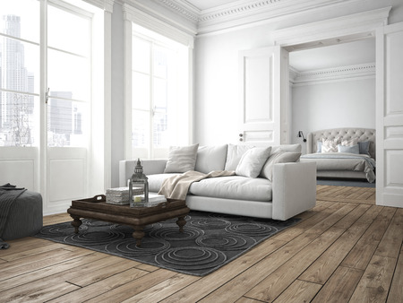 sofa of tissue in a modern living room. 3d rendering Stok Fotoğraf