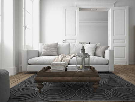 carpet flooring: sofa of tissue in a modern living room. 3d rendering Stock Photo
