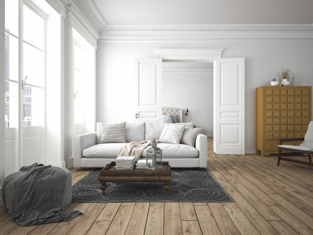 sofa of tissue in a modern living room. 3d rendering Stock Photo