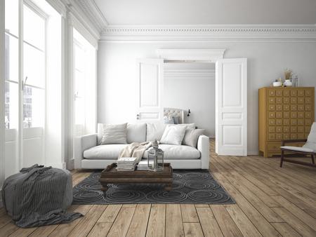 Sofa von Gewebe in einem modernen Wohnzimmer. 3D-Rendering