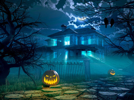 horrors: Halloween night background with scary house and crows and pumpkin, halloween party concept. 3d rendering