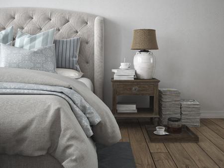 3D-rendering. een luxe moderne stijl slaapkamer. Stockfoto