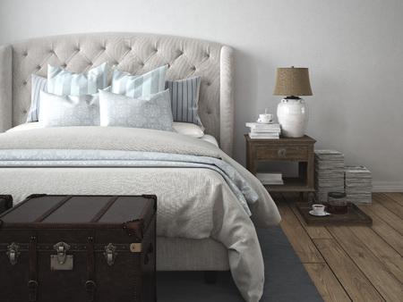 chambre à coucher: Rendu 3d. une chambre de style moderne de luxe.