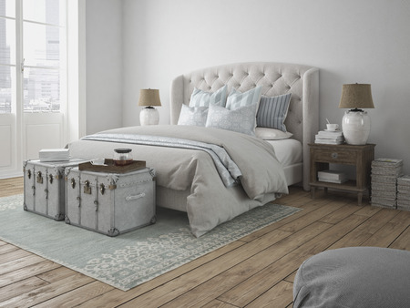 bedrooms: 3d rendering. a luxury modern style bedroom.