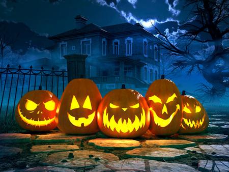 Sfondo notte di Halloween con casa spaventosa e corvi e zucca, Halloween concetto di partito. Rendering 3D Archivio Fotografico - 44667430