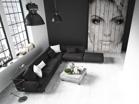 loft: living room of a penthouse placed in loft. 3d rendering