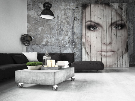 aluminium: living room of a penthouse placed in loft. 3d rendering