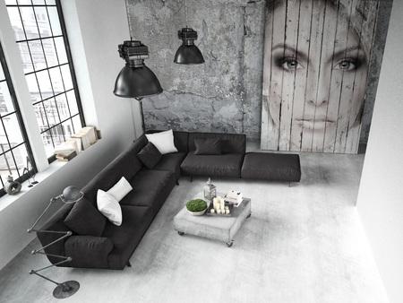 Salon d'un appartement placé dans le loft. Rendu 3d Banque d'images - 44902105
