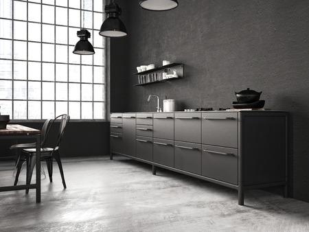 古い loft.3d レンダリングのインテリア、美しいキッチン 写真素材 - 45103219