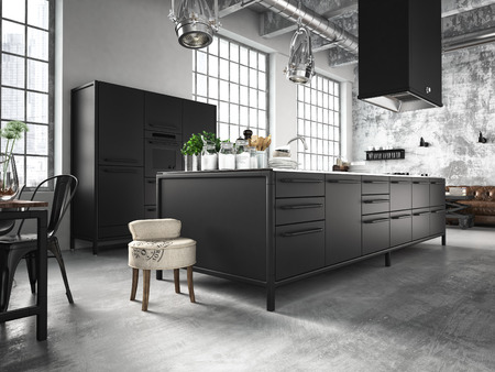 designs: interior, beautiful kitchen of an old loft.3d rendering