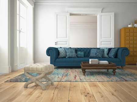 living room: sofa of tissue in a modern living room. 3d rendering Stock Photo