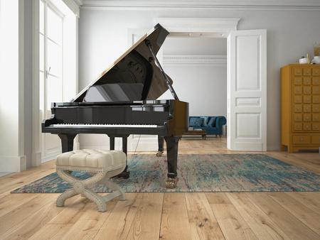 klavier: ein schwarzes Klavier in einem modernen Wohnzimmer. 3D-Rendering