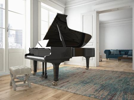een zwarte piano in een moderne woonkamer. 3D-rendering