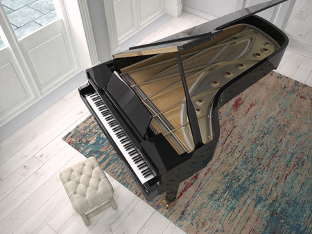 piano: a black piano in a modern living room. 3d rendering Stock Photo