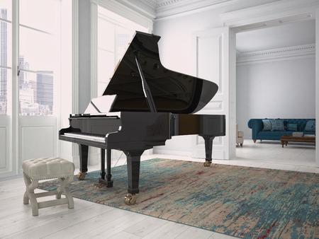 현대 거실에서 검은 피아노. 3 차원 렌더링 스톡 콘텐츠 - 45590671