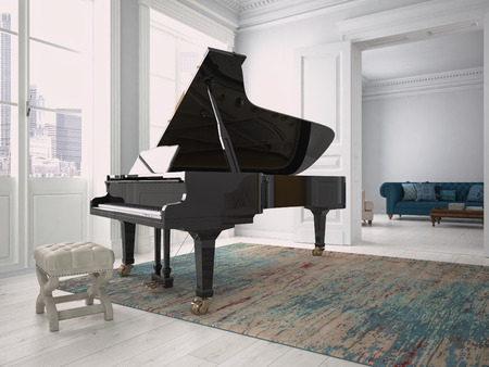 pianoforte: a black piano in a modern living room. 3d rendering Stock Photo