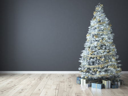 Christmas tree with gifts on grey background. 3d rendering Zdjęcie Seryjne