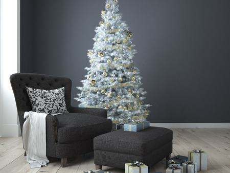 comfortable cozy: Christmas living room with a christmas tree. 3d rendering