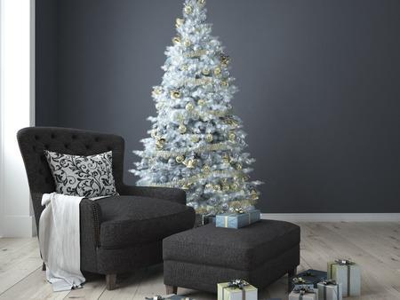 Kerst woonkamer met een kerst boom. 3D-rendering Stockfoto