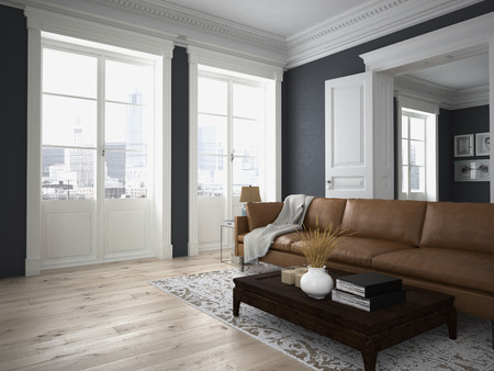 pohovka tkáně v moderním obývacím pokoji. 3d rendering