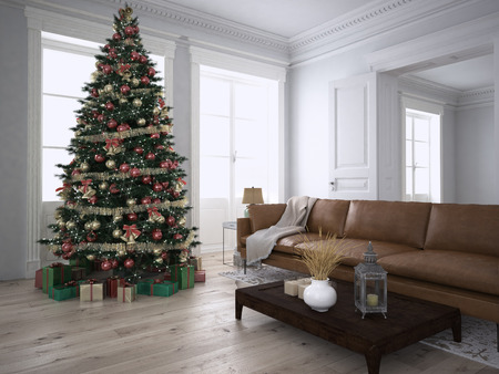 apartment living: Christmas living room with a christmas tree. 3d rendering