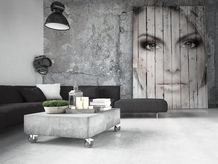 Salon d'un appartement placé dans le loft. Rendu 3d Banque d'images - 46580963