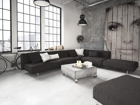 Salon d'un appartement placé dans le loft. Rendu 3d Banque d'images - 46580964
