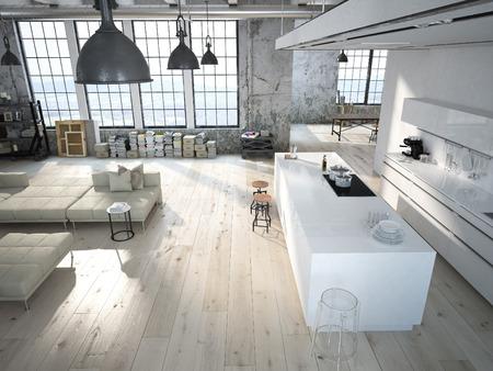 Moderno loft de una cocina y sala de estar. Las 3D Foto de archivo - 46580966