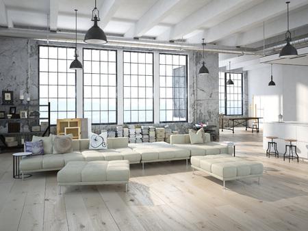 Loft moderno con una cucina e soggiorno. Rendering 3D Archivio Fotografico - 46580967