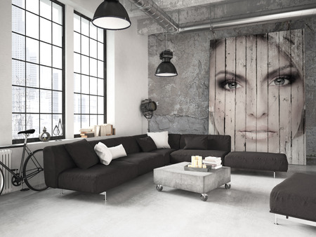 living: living room of a penthouse placed in loft. 3d rendering