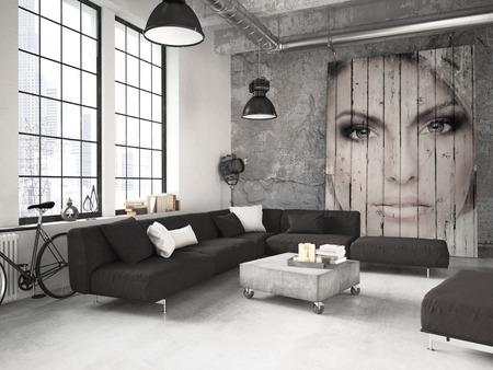 case moderne: soggiorno di un attico posto in soffitta. Rendering 3D