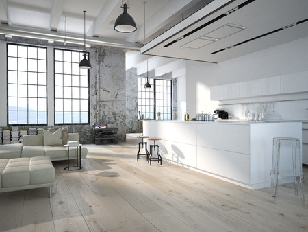 lofts: Modern loft with a kitchen and living room. 3d rendering Stock Photo