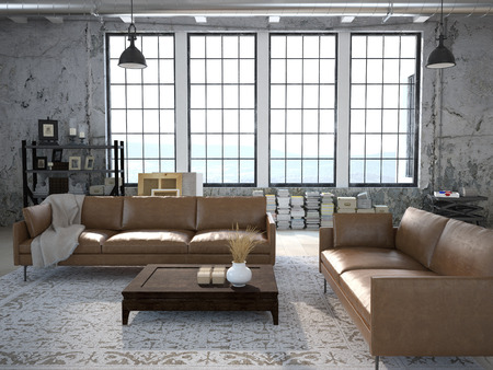 stone wall: Modern living room with huge windows and stone wall. 3d rendering Stock Photo