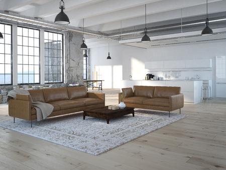 부엌과 거실 현대 로프트. 3D 렌더링
