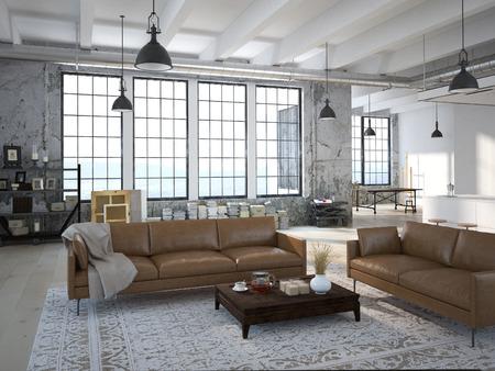 Loft moderno con una cucina e soggiorno. Rendering 3D Archivio Fotografico - 46799995