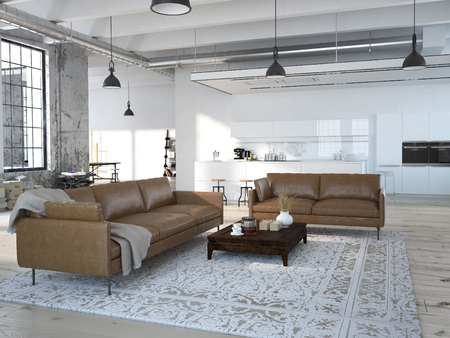 Modern loft with a kitchen and living room. 3d rendering Archivio Fotografico