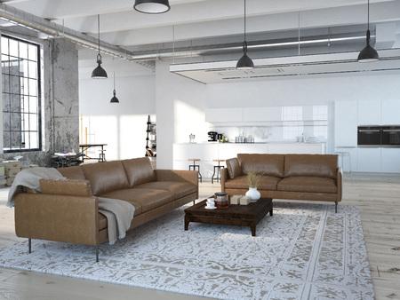 case moderne: Loft moderno con una cucina e soggiorno. Rendering 3D Archivio Fotografico