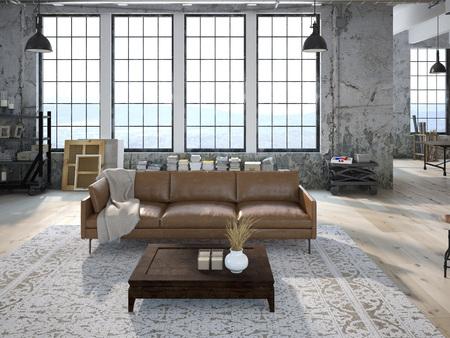 Moderne woonkamer met grote ramen en stenen muur. 3D-rendering