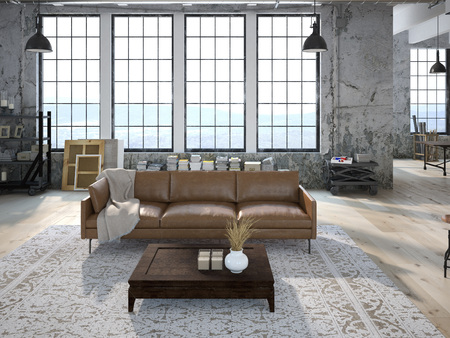Modern living room with huge windows and stone wall. 3d rendering Archivio Fotografico