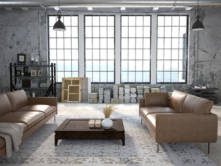 Salon moderne avec de grandes fenêtres et un mur en pierre. Rendu 3D Banque d'images - 46800044