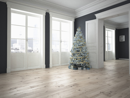 party room: decorated christmas tree with lots of presents in an empty grey classic room. 3d rendering