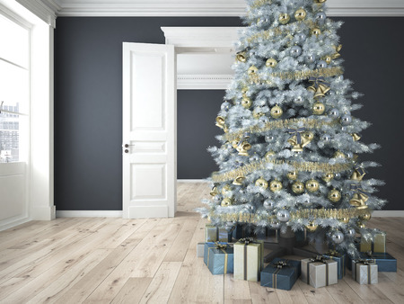 christmas decor: decorated christmas tree with lots of presents in an empty grey classic room. 3d rendering