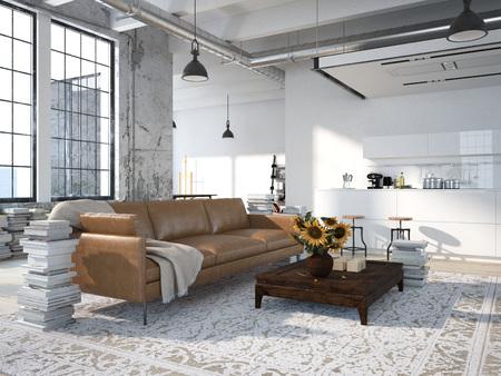 Loft moderne avec une cuisine et un salon. Rendu 3d Banque d'images - 46800673
