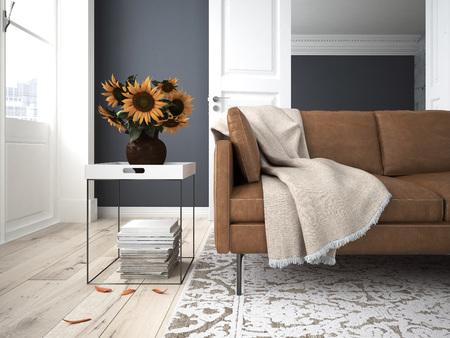 Stilleven met zonnebloemen in een interieur. 3D-rendering Stockfoto