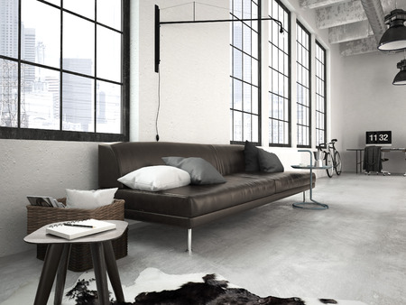 lofts: 3d rendering of a modern industrial style loft Stock Photo