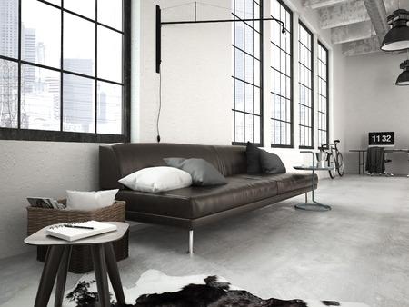 3D-rendering van een moderne industriële stijl loft Stockfoto