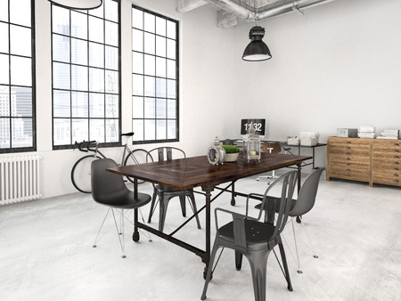 living room design: 3d rendering of a modern industrial style loft Stock Photo
