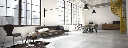 Spiral stairs and living room in modern loft.3d rendering Standard-Bild