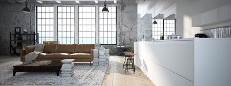 Moderne loft met een keuken en een woonkamer. 3D-rendering