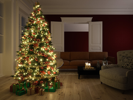 room card: Christmas scene with tree  gifts and fire in background. 3d rendering